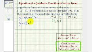 Ex: Find the Vertex Form of a Quadratic Function Given the Vertex and a Point