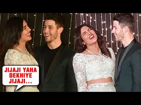 Media Calls Nick Jonas JIJAJI, Priyanka Chopra Laughs | Priyanka Nick Mumbai Reception 2018