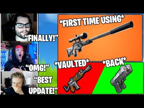 STREAMERS First Time Using *NEW* Suppressed Sniper & Reacts TO BURSTS *VAULTED* (Fortnite Moments)