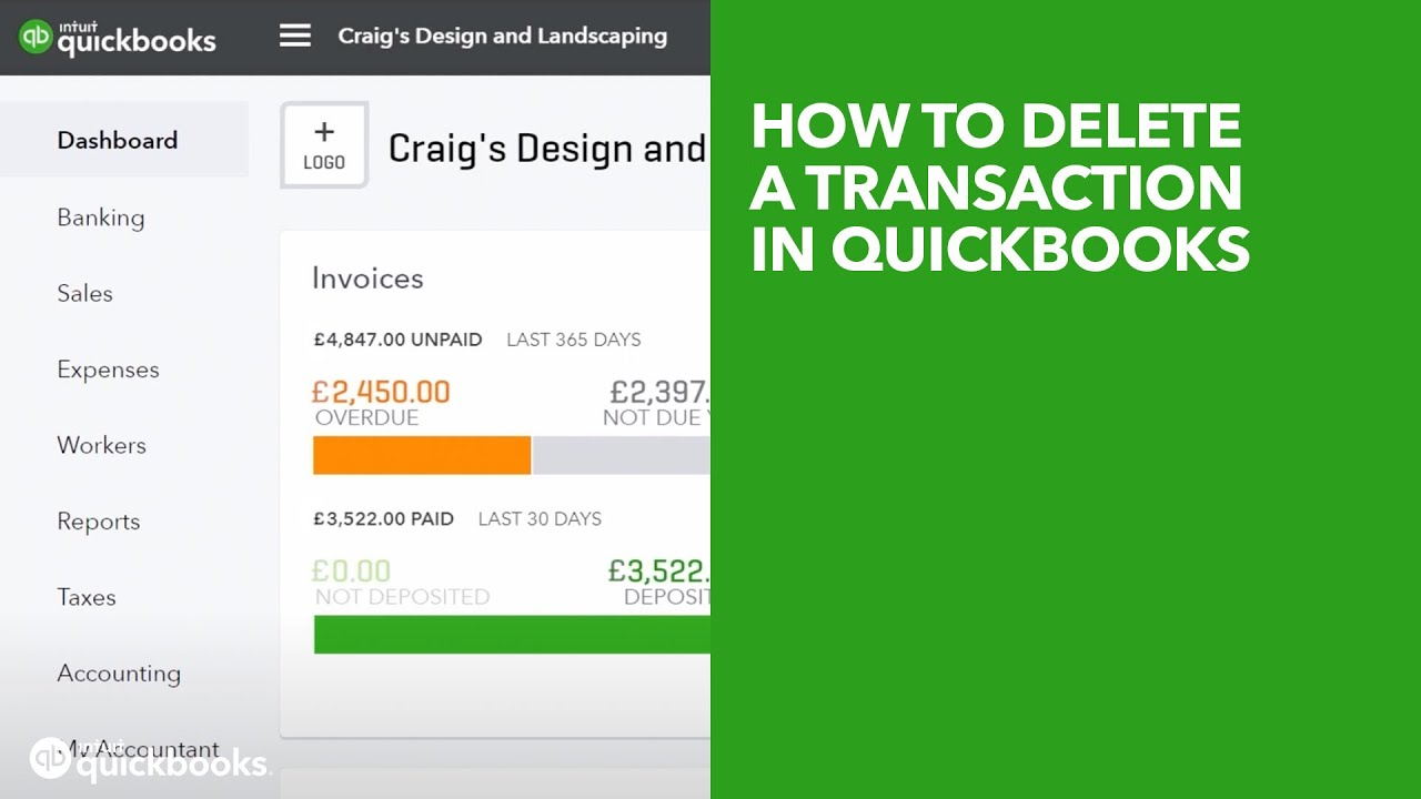 How to delete a transaction in QuickBooks | UK
