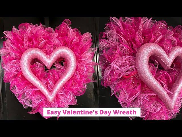Dollar Tree Valentine's Day Wreath - Deco Mesh Heart Wreath using the Ruffle Method
