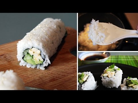 How to Make Vegan Sushi for BEGINNERS [Vegan California Rolls + uramaki technique]