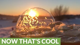 Mesmerizing freezing bubbles in -26C Alberta, Canada
