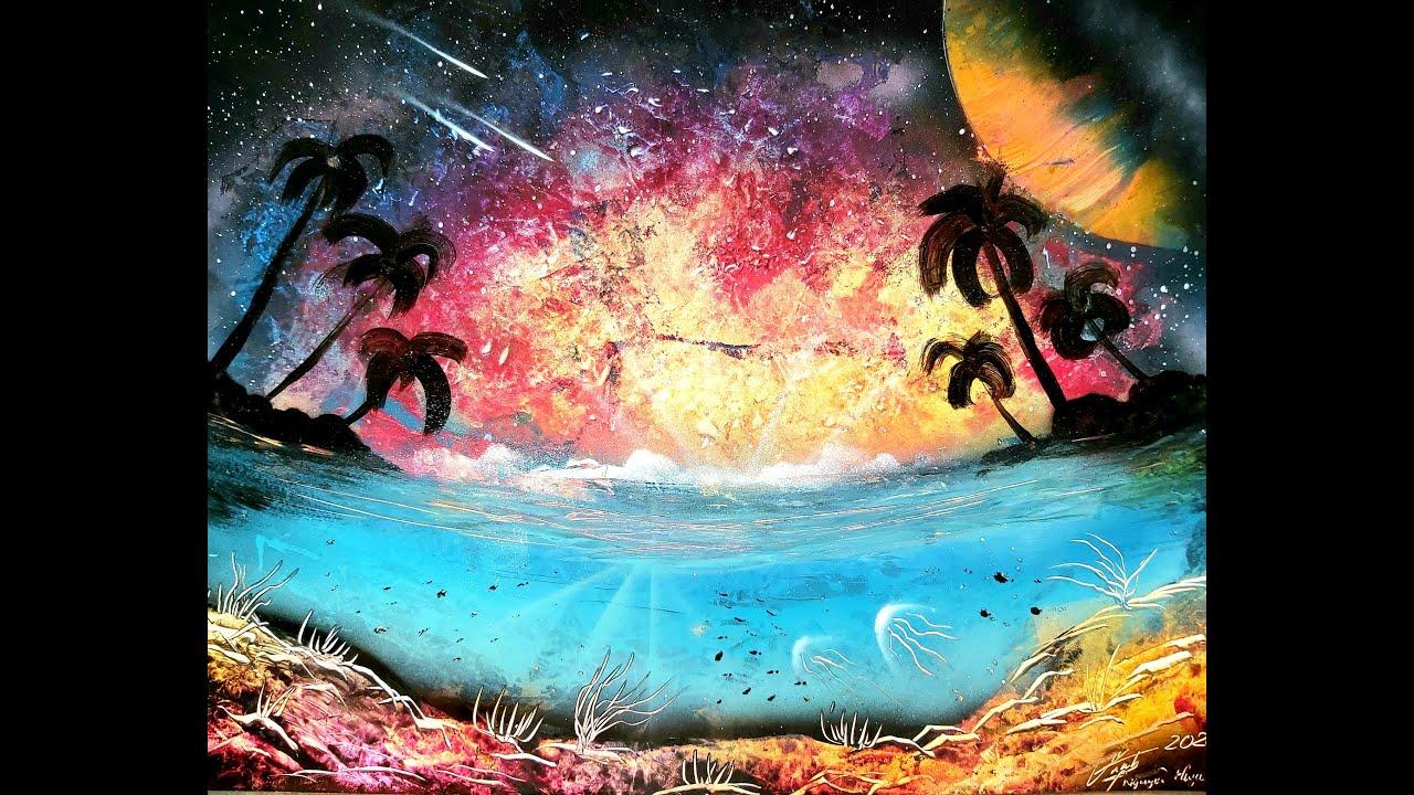 Vẽ Trời & Biển – Hướng dẫn vẽ tranh phun sơn /Tranh Phun Sơn/ Porfirio Jimenez cover spray art