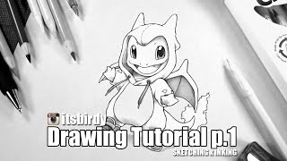 How to Draw Charmander in a Charizard onesie ( Drawing Tutorial p.1 )