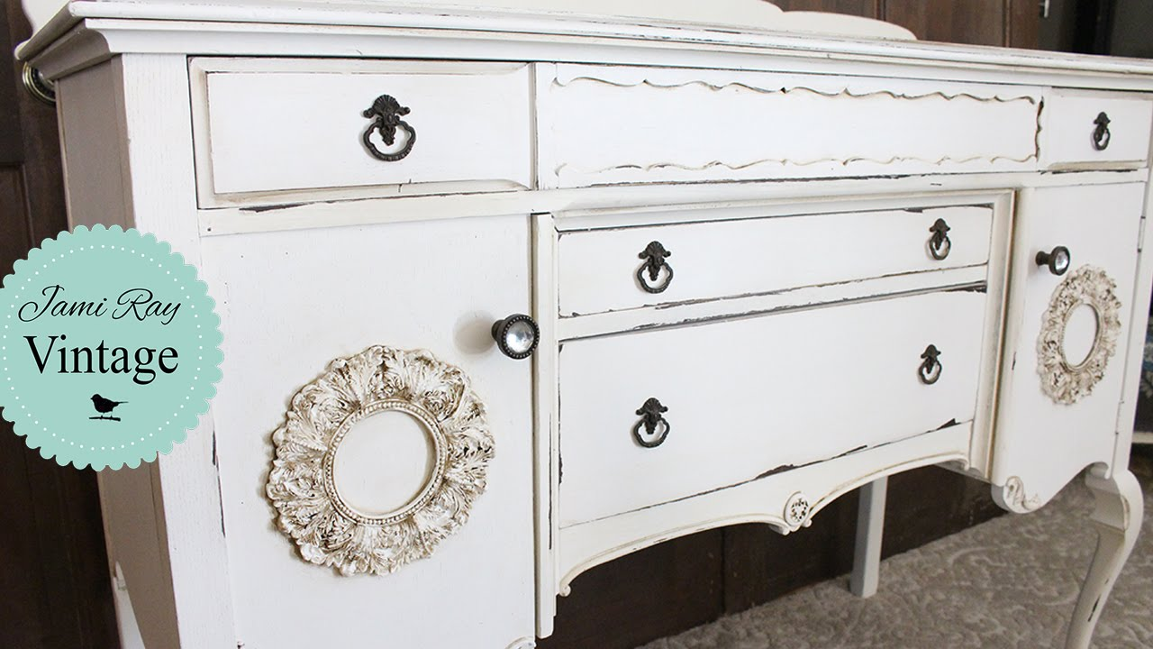 - How To Dark Glaze Furniture Antique Buffet - YouTube
