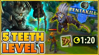 *PENTA LEVEL 1* WHAT HAPPENS WHEN RENGAR FULLY STACKS PASSIVE LVL 1 - BunnyFuFuu | League of Legends