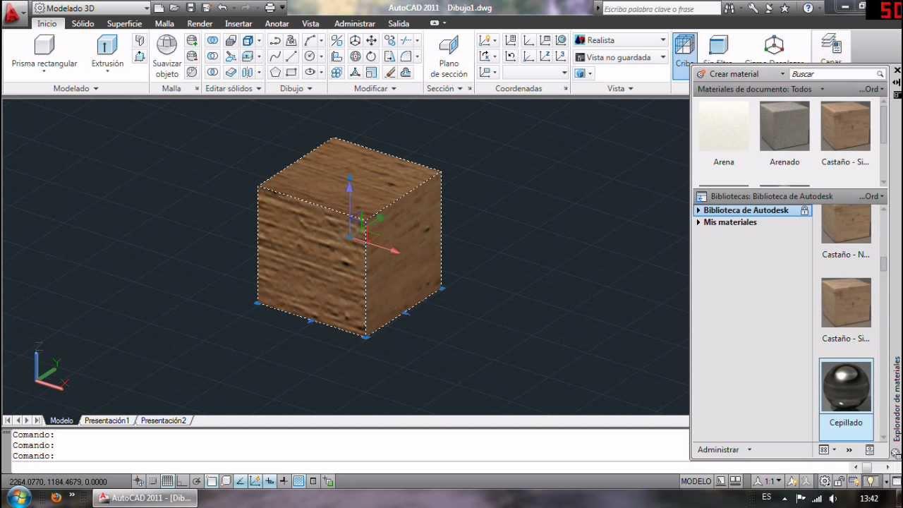 Cómo poner materiales en AutoCAD 3D