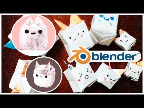ORIGAMI CUTE KAWAII cube Pet STOPMOTION - BLENDER 3D FLUFFY