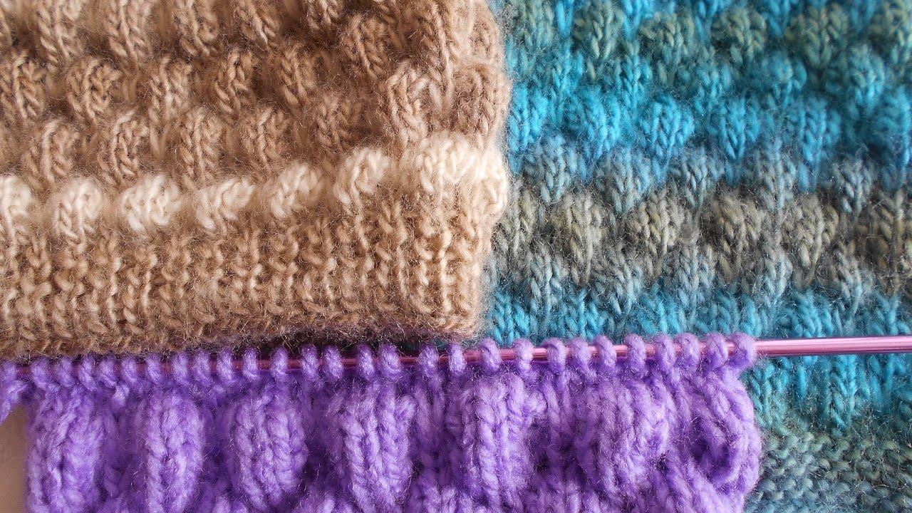 Punto puff punto fantasia f cil y r pido en dos agujas - Puntos faciles para tejer con dos agujas ...
