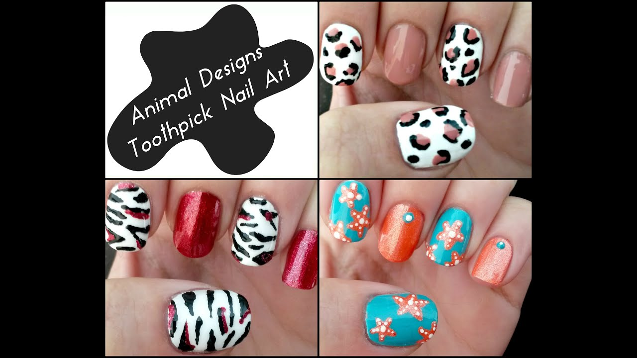 Toothpick Nail Art 3 Easy Animal Nail Art Designs Youtube