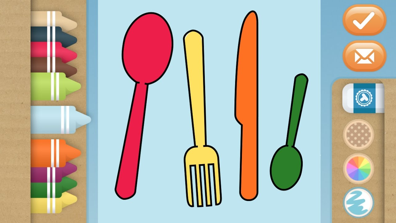 Let\'s Learn Colors with Kitchen Tools Coloring Book Kids Learning ...
