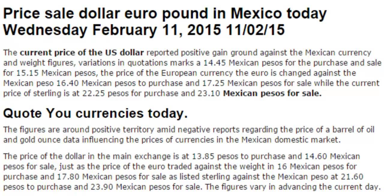 Dollar Prices Exchange Rates In Mexico Pesos Today February 2 2017 02 11 15