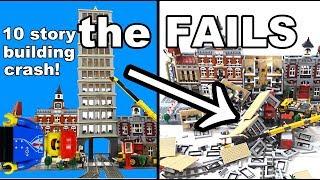 Lego train crash with huge skyscraper: the FAILS