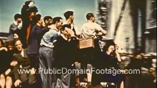 VE Day Paris 1945 End of WWII in Europe Raw Archival Footage - Part ONE  www.PublicDomainFootage.com