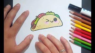 Como dibujar un taco kawaii paso a paso | How to draw a kawaii taco