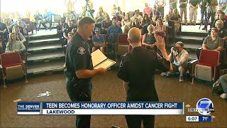 13-year-old boy diagnosed with cancer sworn in as honorary Lakewood Police officer