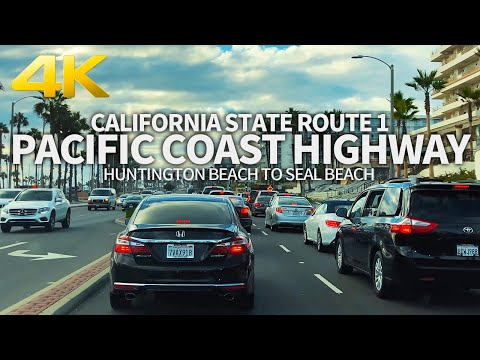 DRIVING PACIFIC COAST HIGHWAY - California State Route 1, Huntington Beach To Seal Beach, USA, 4K