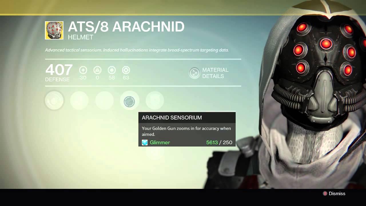 Destiny Review: New Hunter Exotic Helm ATS/8 ARACHNID! [The Dark Below] - YouTube