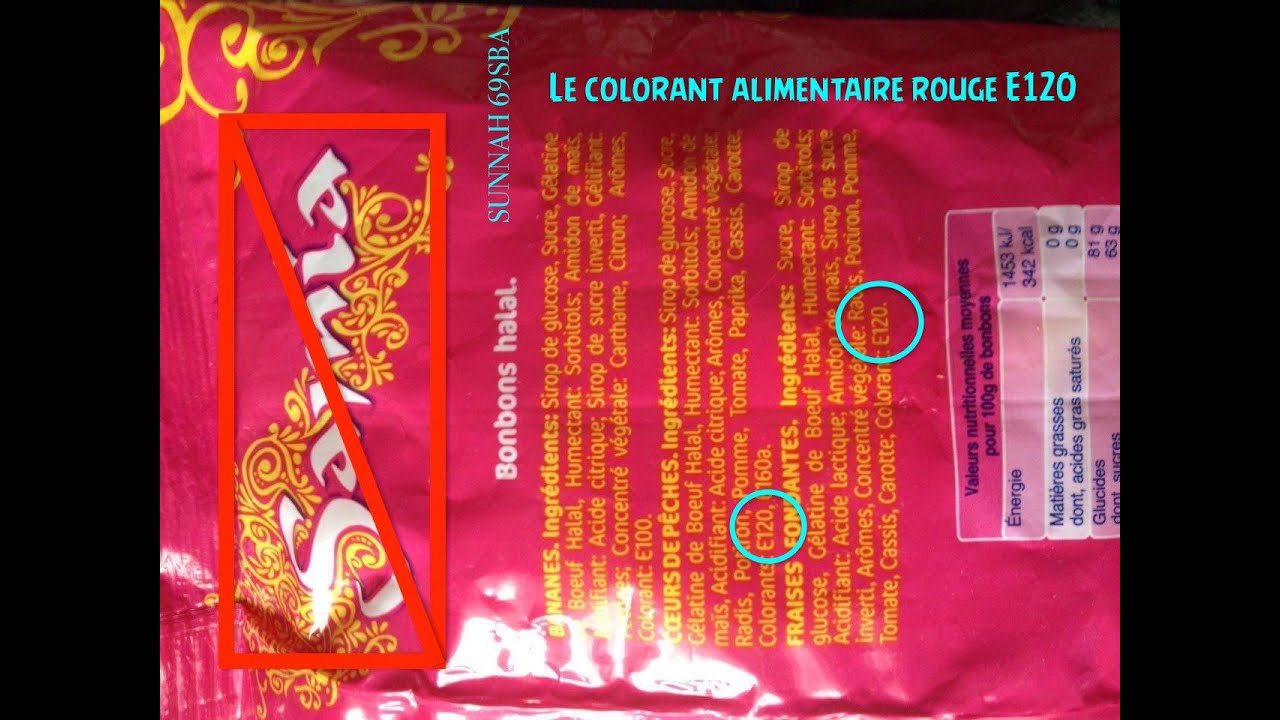 le colorant alimentaire rouge e120 - Colorant E120