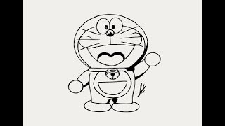 How to draw standing doraemon cartoon for kids step by step