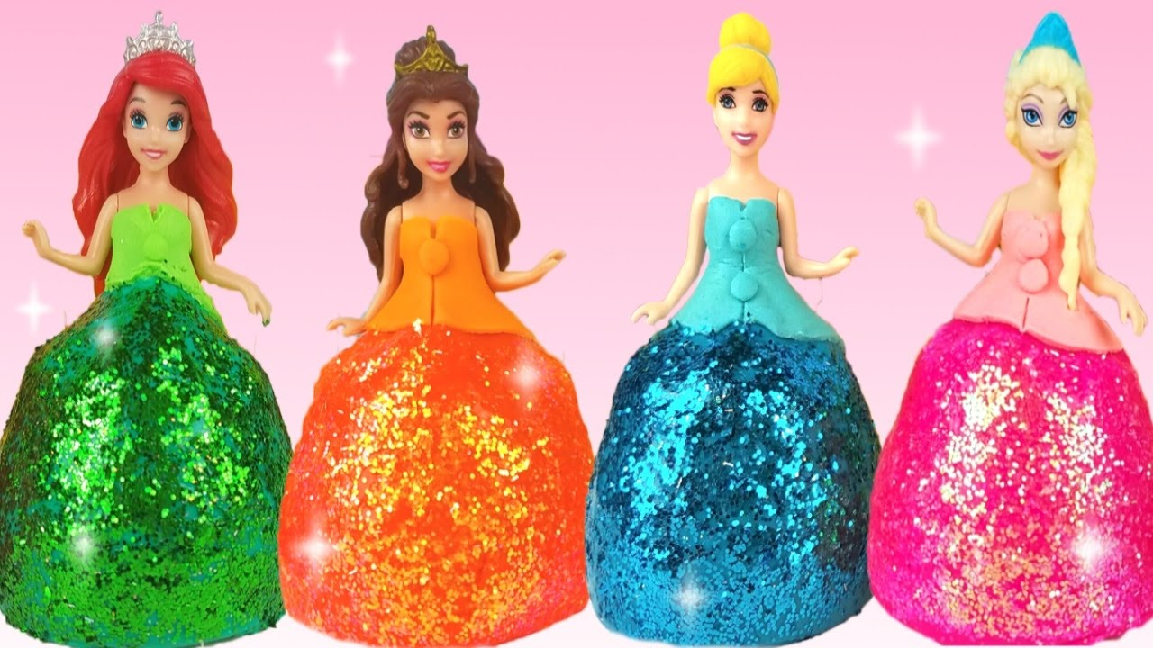 DIY Play Doh Glitter Disney Princess Dresses Magiclip ...