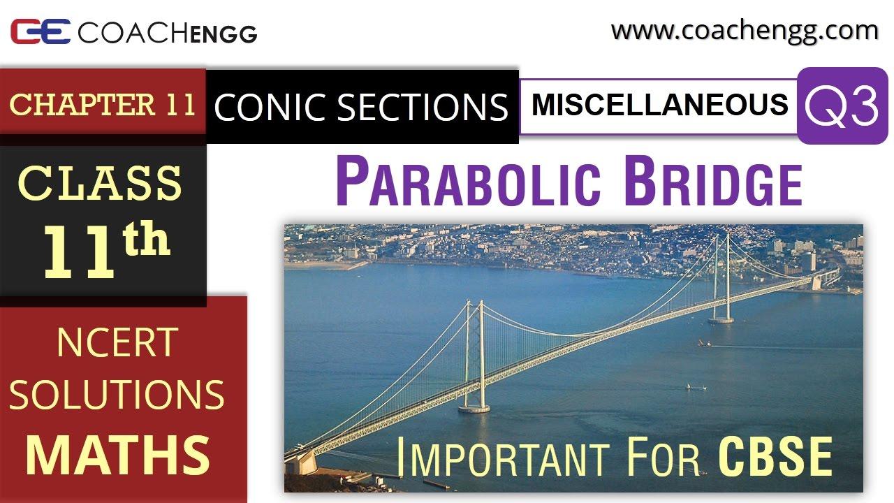 CONIC SECTIONS Miscellaneous Q3 – Class 11 Maths NCERT Solutions –  Parabolic Suspension Bridge