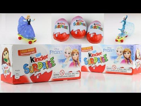ELSA AND ANNA SKATEBOARDING Opening 6 Kinder Surprise Frozen Disney eggs