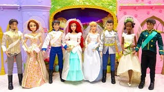 New Wedding Disney Princess Doll Dress up Ariel Cinderella Rapunzel Tiana Wedding Costumes Unbpxing