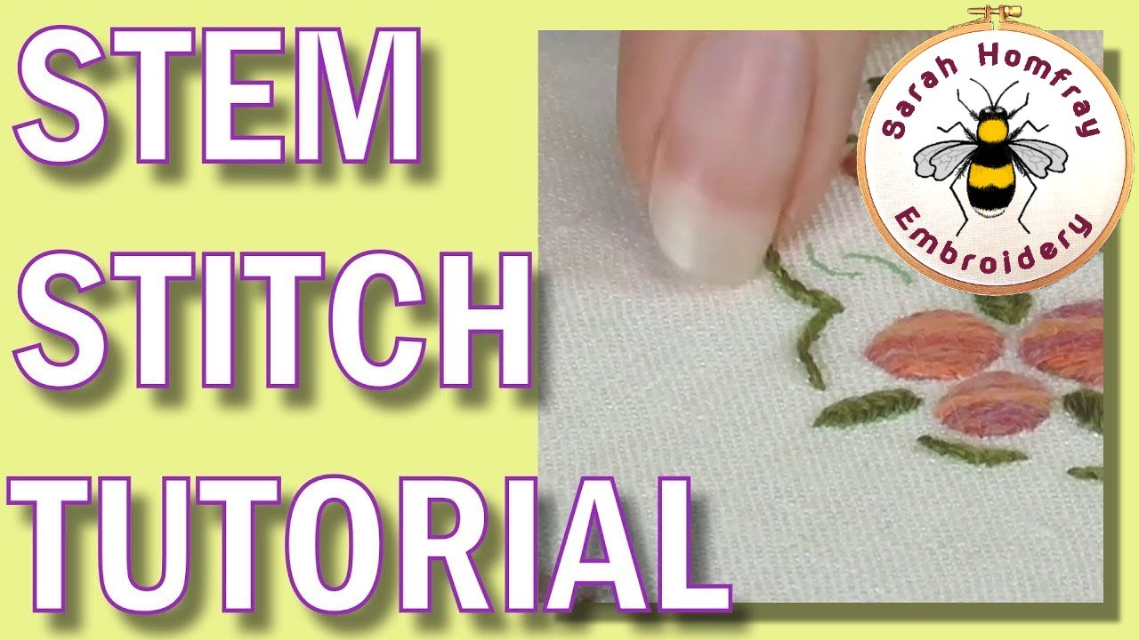 Hand Embroidery Stem Stitch Outline Stitch Tutorial Youtube