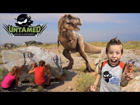 Ninja Kids vs Untamed T-REX! Toy review ADVENTURE!