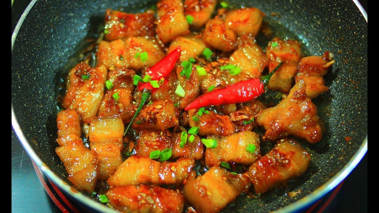 Thịt Heo Rang Cháy Cạnh – Cách rang thịt ba chỉ ngon như nhà hàng