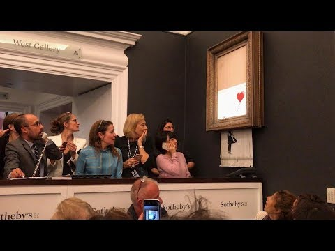 Banksy Shreds 'Girl with Balloon' Painting after Sotheby's Auction