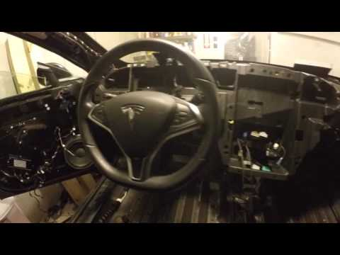 Removed top dash pad of Tesla Model S
