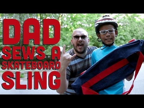 Dad Sews A Skateboard Sling - Upcycle Jeans Into A Skateboard Carrier/Backpack