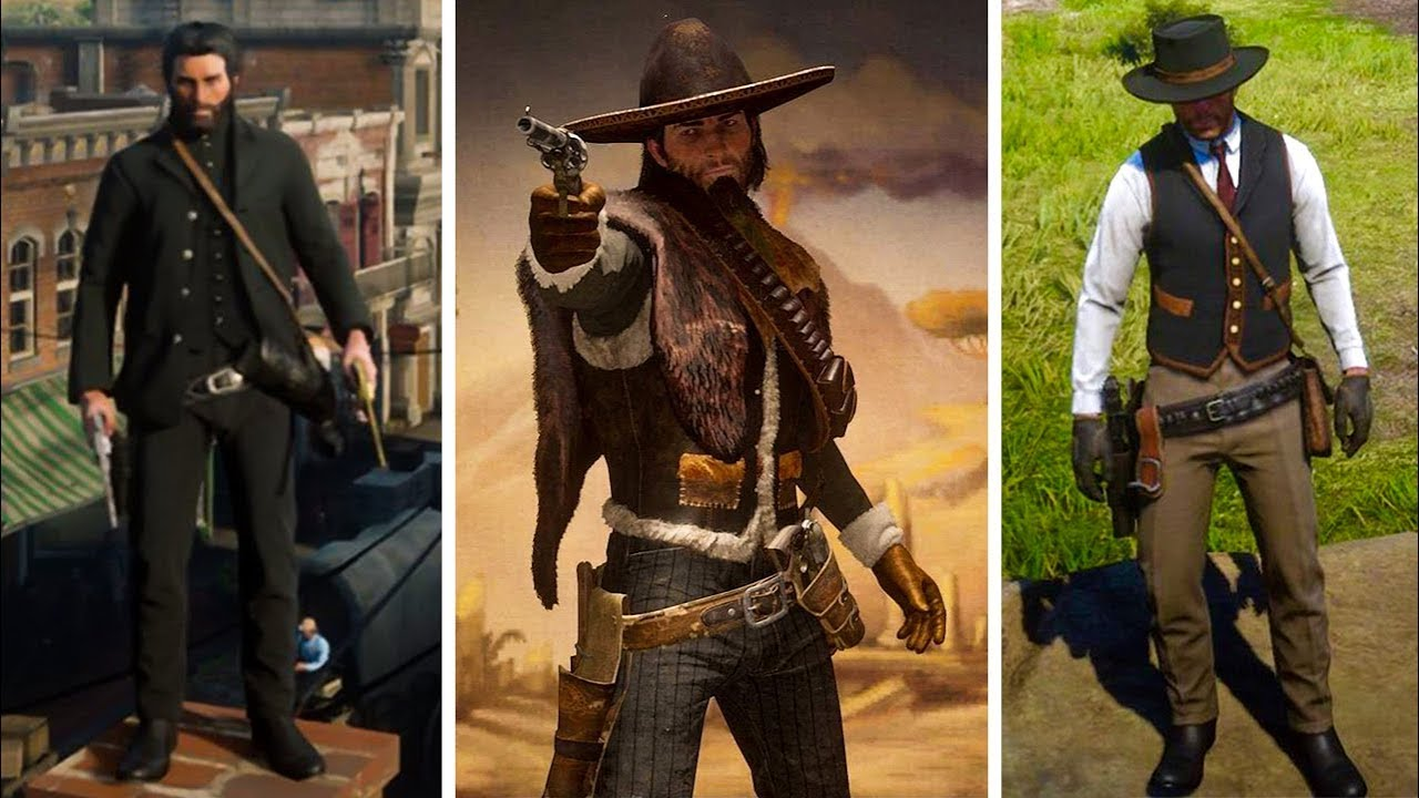 Red Dead Redemption 2 , COOL OUTFITS 3 (John Wick, Red Harlow, The  Detective \u0026 More)