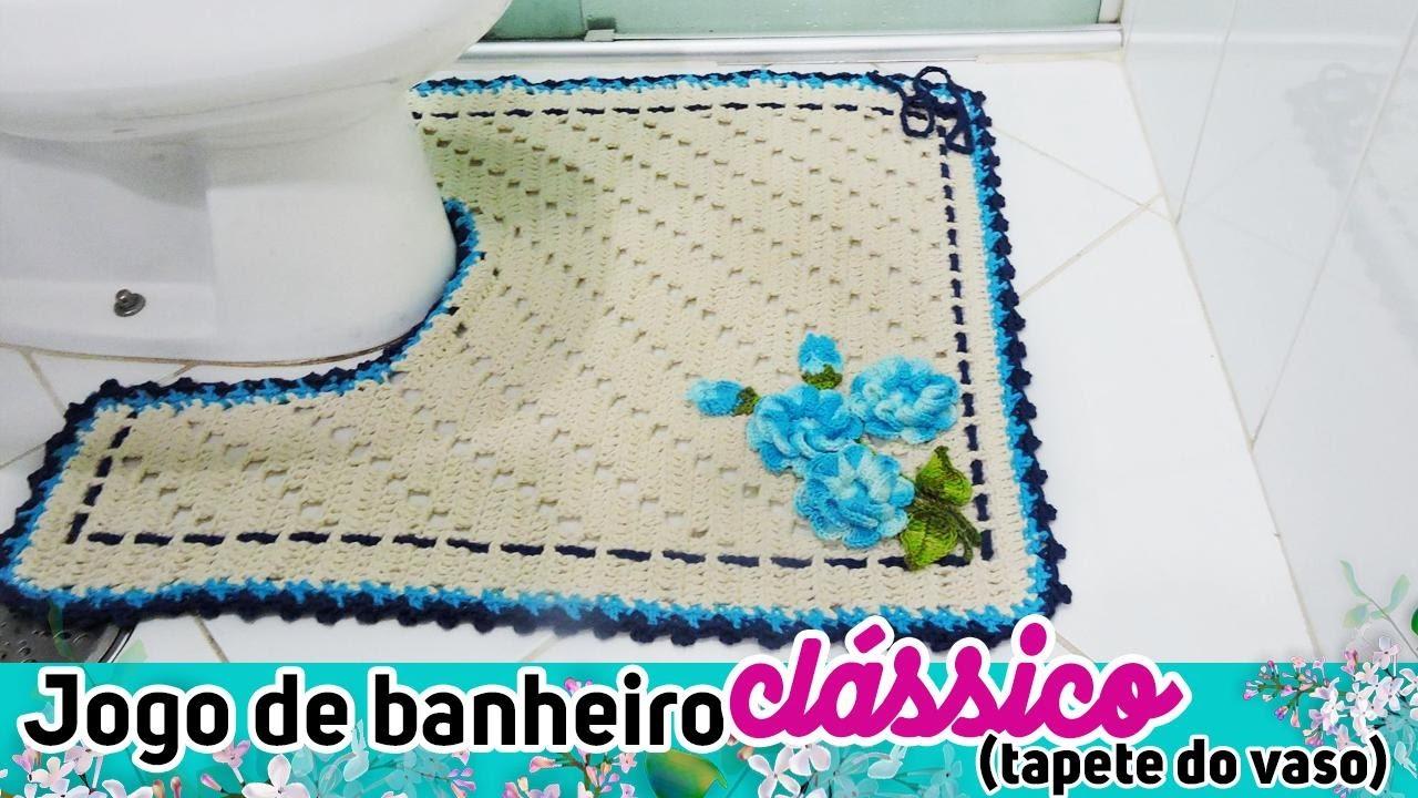Jogo De Banheiro Clássico Tapete Vaso Diane Gonçalves