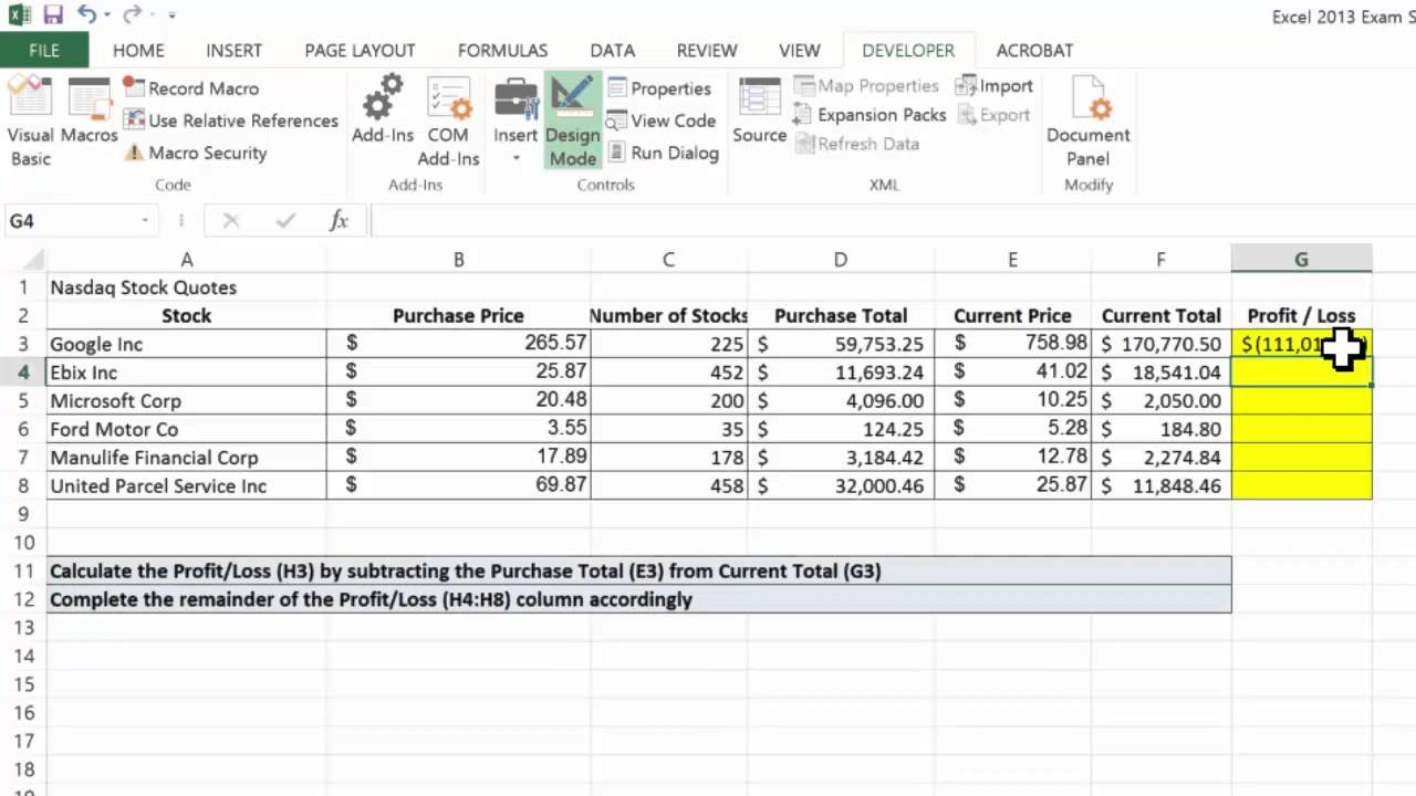 excel 2013 creating a basic subtraction formula