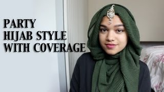 Party Hijab Tutorial With Coverage and Crinkle Scarf Thumbnail