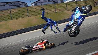 MotoGP 17 | Crash | Different cameras | Pedrosa vs Iannone | Sachsenring | gameplay