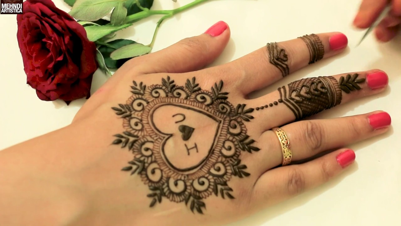 Cute Heart With Love Easy Simple Girlish Mehndi Design For