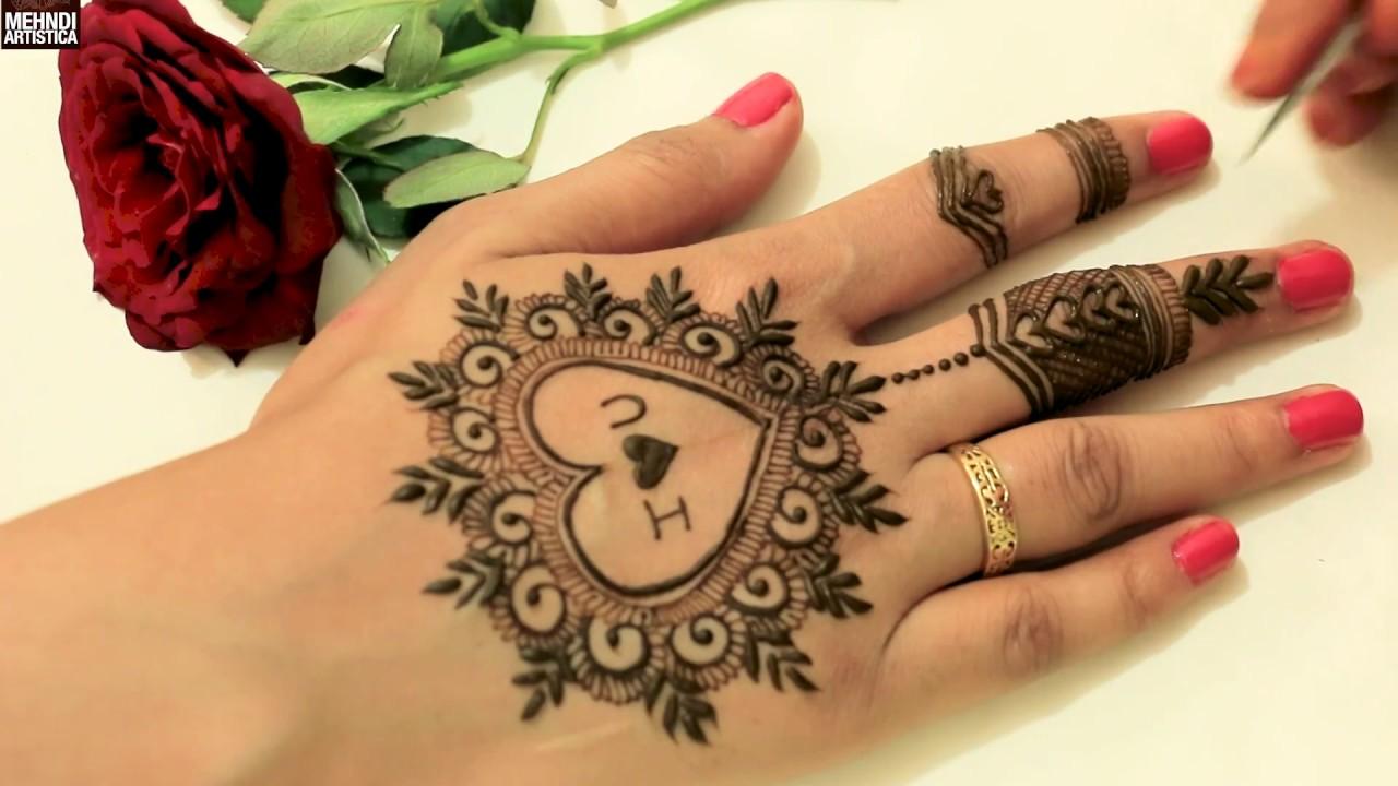 arabic mehndi design heart shape simple