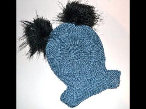 Как связать детскую шапочку шлем спицами для девочки
