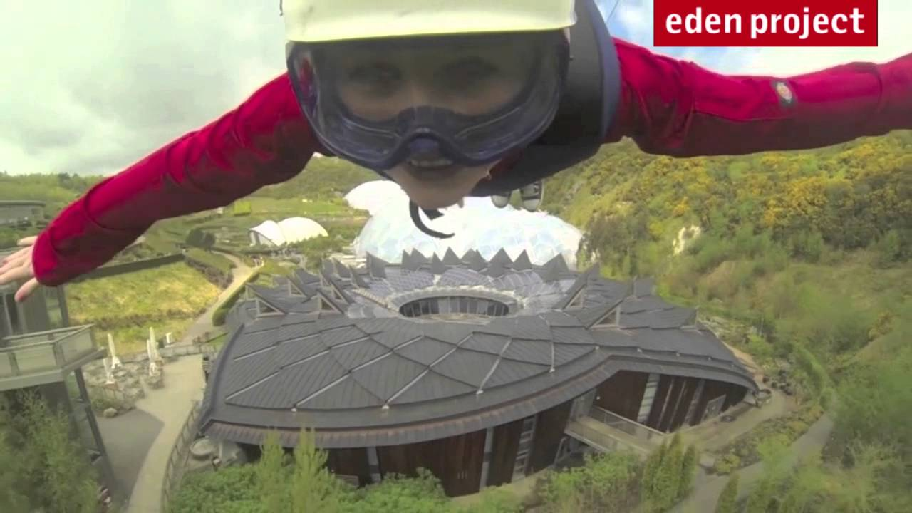 Longest and fastest zip line in England -- Eden Project - YouTube