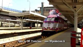 HD New Eco-Friendly MBTA Locomotive Departs Boston North Station with a Train