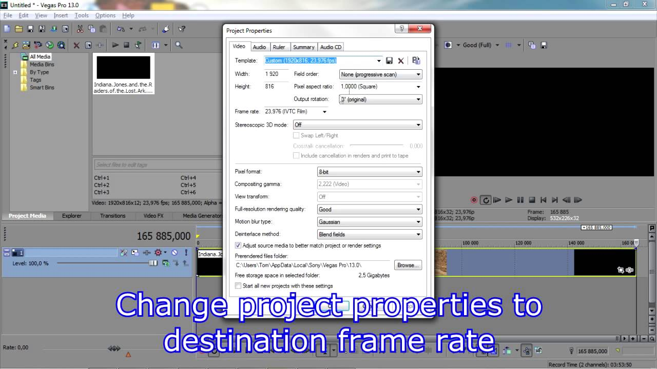 How to change clip framerate in Sony Vegas Pro - YouTube