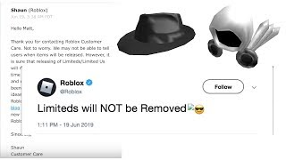 Roblox IS NOT REMOVING LIMITEDS