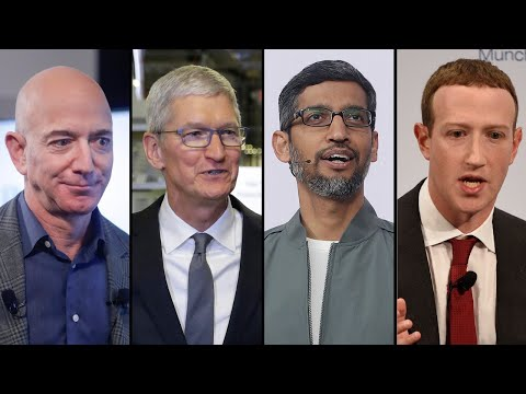 Facebook's Mark Zuckerberg, Amazon's Jeff Bezos, Sundar Pichai of Google and Tim Cook of Apple, From YouTubeVideos