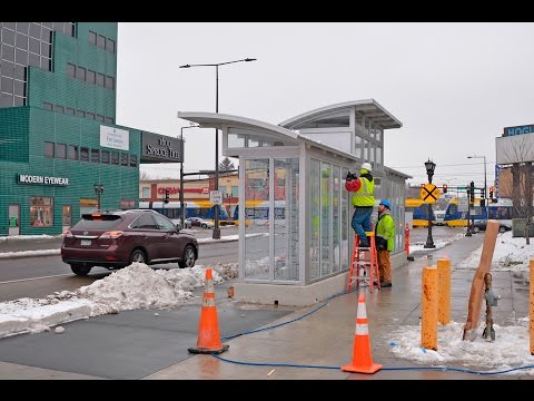 Time lapse: New A Line large size bus stop shelter installed