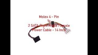 Molex 4-Pin Male to 2 SATA Right Angle Female Power Cable 14 Inch P#1312
